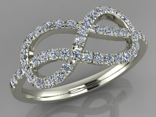 Kizer Cummings Jewelers Diamond and 14Kt White gold infinity knot ring.   CAD CAM design.