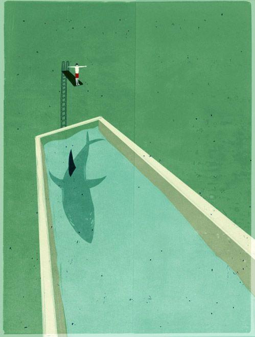 pool sharkDesign Inspiration, Swimming Pools, Graphics Art, Painting Art, Sharks Tanks, Summer Games, Alessandro Gottardo, Diving, Art Illustration