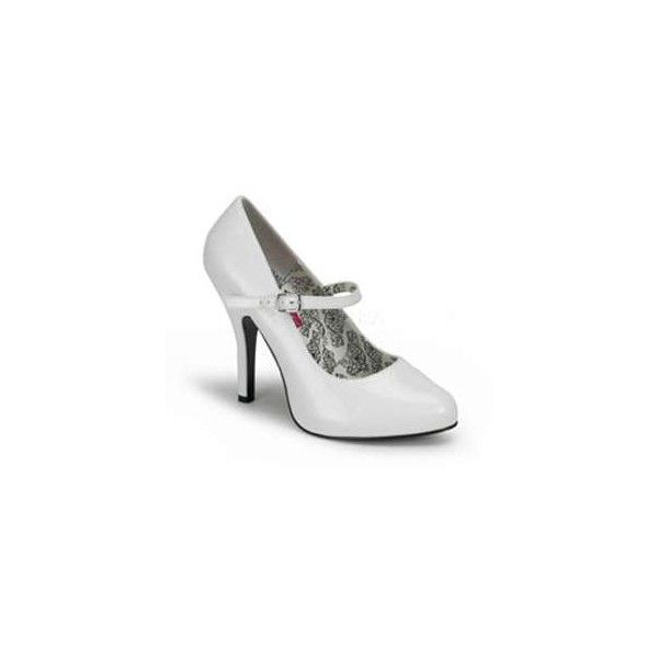 White Tempt Mary Jane Shoes ($68) ❤ liked on Polyvore featuring shoes, pumps, white, white mary jane pumps, glamorous shoes, high heel shoes, high heeled footwear and white court shoes