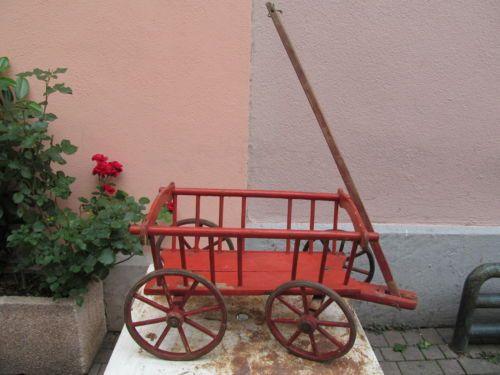 Alter-Kinder-Bollerwagen-Leiterwagen-ca-1920-Puppen-Wagen-Schaufensterdekoration