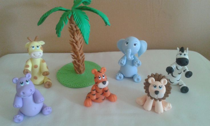 cake topper figurine animales para baby shower, bautizo o cumpleaños, de…