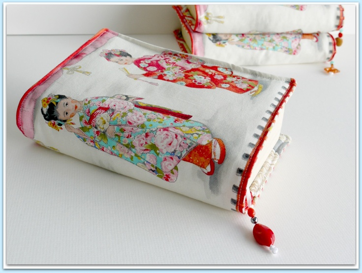 Japanese Fabric book cover, handmade for sale at NOTHS