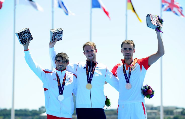 On the podium, Gordon Benson with his gold medal in mens triathlon a the first European Games in Baku 2015