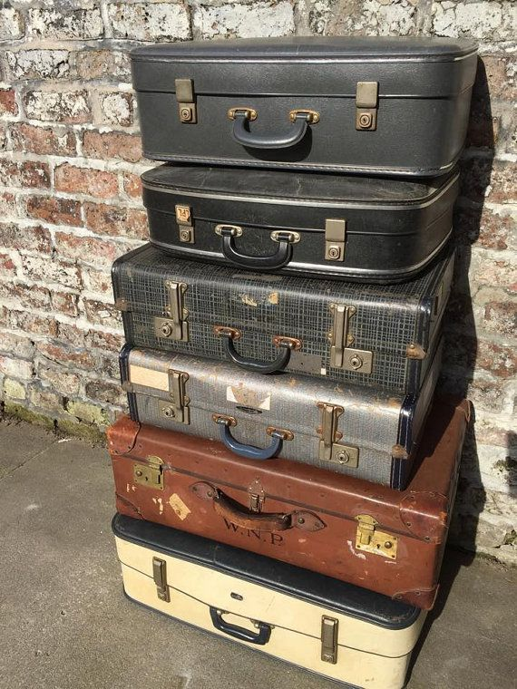 ♥♥ Custom sourced VINTAGE RETRO cases make great storage solutions and look great stacked!! ♥♥  + A selection of 5 vintage suitcases ranging in age from 1930s, to 1960s in a variety of colours and finishes.  + I custom source vintage cases to order with a nice blend of colours from CREAM, TAN. NAVY. BLUES, BLACKS AND GREYS, that will stack nicely as an arrangement. An ideal decorative storage solution or can be used as photo booth props and backdrops, shop display, window display or as a…