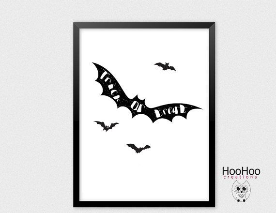 Printable Trick or Treat poster Hallowen poster by HooHooCreations