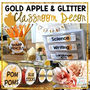 Classroom Decor - Gold Apple & Glitter Classroom Decor! In Peach, Mint, and Gold Colors. With 100% Editable Text! Change the text on supply labels, posters, banners, schedule cards, classroom jobs, binders and more to fit the needs of your classroom!Would you like MATCHING resources in your classroom?