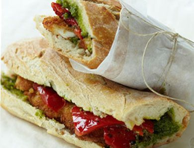 CHICKEN CUTLET BAGUETTE WITH ROASTED PEPPERS & PESTO_390x297