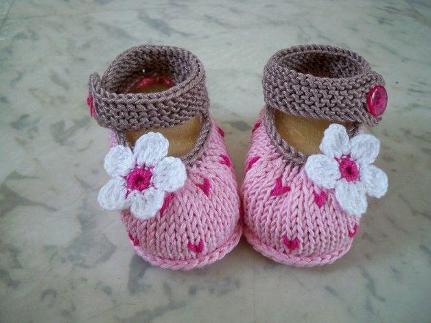 Gestrickte Babyschuhe Farbe.rosa-braun-pink Verpa…