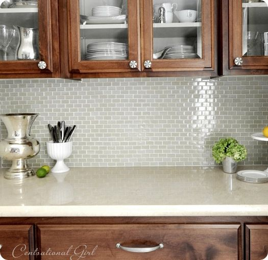 i love this for a butler's pantry.  the tile is Jeffery Court glass tile in 'Whitewater'.  Here's the link if you love it to. (paint color Benjamin Moore - Camouflage)