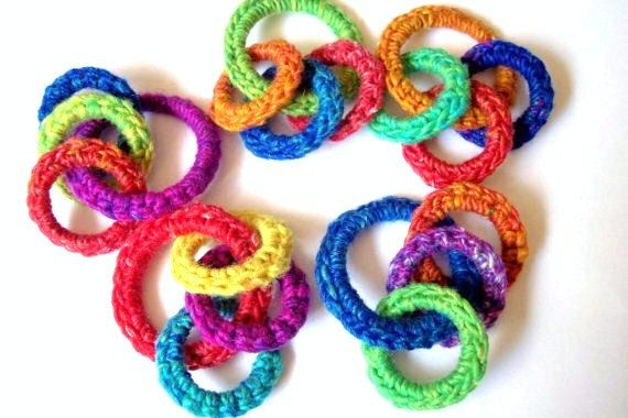 Rainbow O Ring Cat Toy, Kitten Ferret Toy, Toys Rings, Handmade, Hand Crocheted, Recycled Upcycled Rings