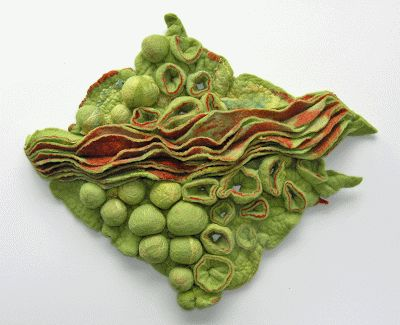 Shibori technique in felt by Jolande van Luijk