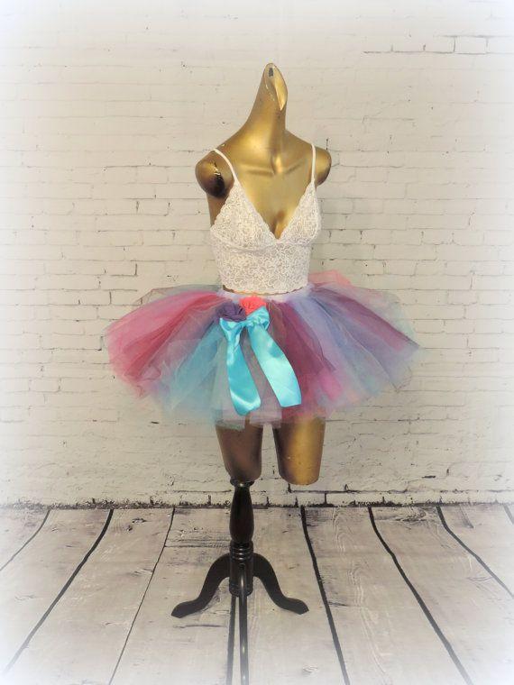 SALE Item Adult Tutu Skirt Birthday Color Run Marathon For Women Edc Rave Outfit Photo Prop Blue Purple Hot Pink