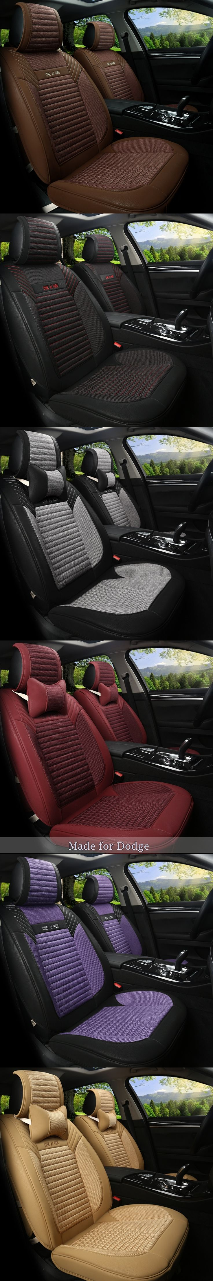 Linen Flax Leather Seat Covers for Dodge Viper JCUV Caliber Avenger Charger Nitro Ram Truck 5 Seat Cushion Seat Protect 151w