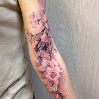 Des Fleurs De Cerisier Sur Le Bras Tatouage Tatouage Manchette