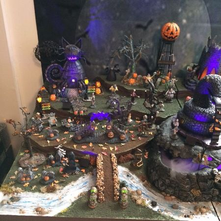 nightmare before christmas village using bases from department 56 displays by kathy