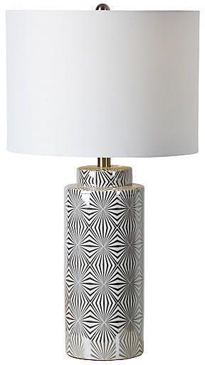 One Kings Lane Camden Table Lamp - Glazed White/Silver