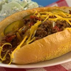 """Rhode Island Dynamite Sandwich - """"A Rhode Island exclusive. Kind of like a Sloppy Joe but far superior. Spicy enough to earn it's name, it's best washed down with a good beer. For you non Rhodey people, torpedo rolls are just the long sandwich rolls."""""""