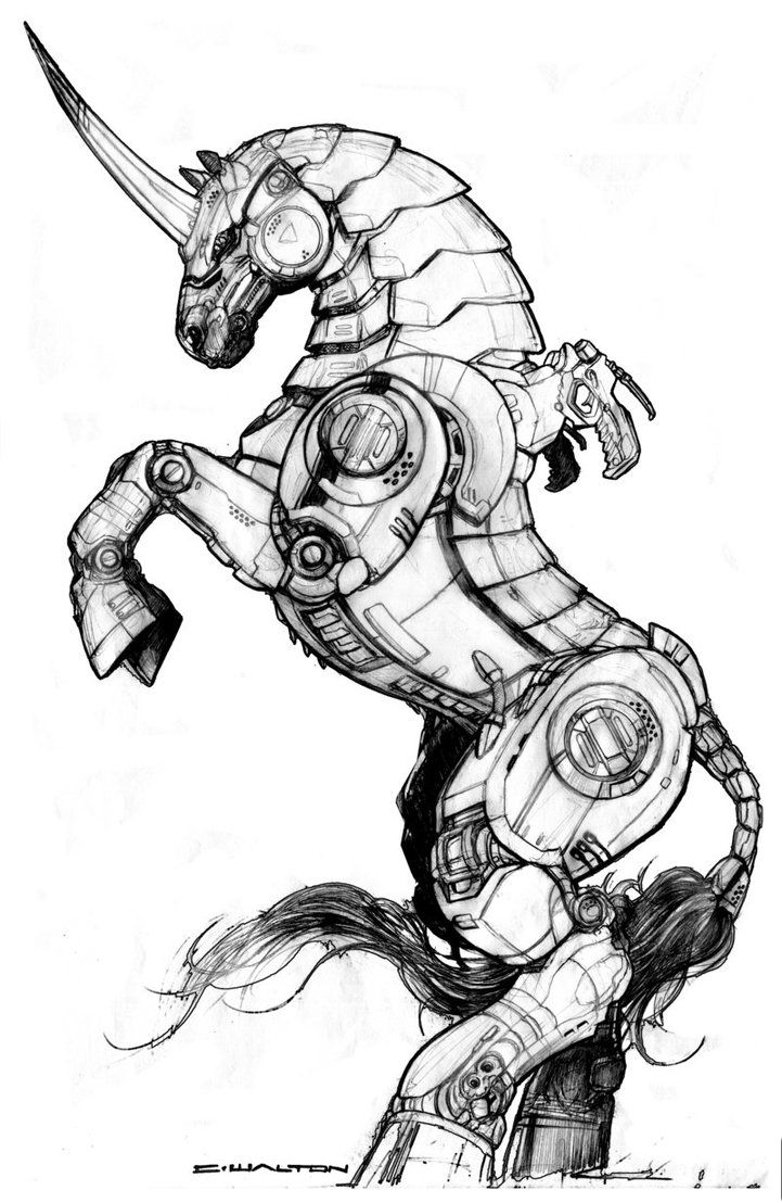 """This is one of the Illustrations appearing in the recent """"RIFTS: Black Market"""" published by Palladiumbooks. The Unicorn robot steed is manufactured by Bandito Arms and the steed is a Warhorse unit ..."""