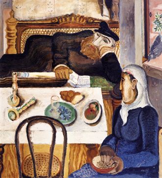 Jankel Adler (1895-1949)  Sabbath  1927-28 Mixed media, oil, sand on canvas; 120 x 110 cm.  (Jewish Museum Berlin, Germany)
