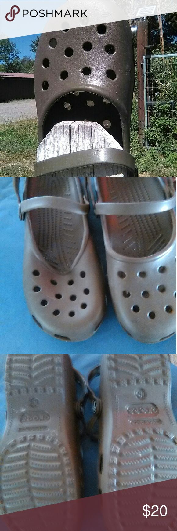 Authentic Crocs shoes. Crocs shoes with dual straps. Green/grey color.  Size 10. Please note the right one has a dip in the top. Does not affect the comfort of the shoe. CROCS Shoes Sandals