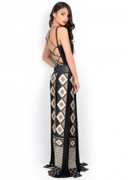 LATITURE  Vestido romano negro y beige largo escote espalda. Talla 36 y 40 brasilera  #graduacion #15 #matrimonio #fiesta #vestidos #wedding #party #dress #fashion #style #design #outfit #shopping #glam #romano #latiture #designs