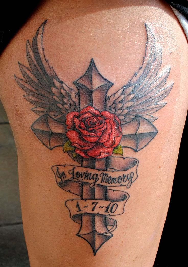 Red rose and banner In loving memory over Black cross with angel wings ...