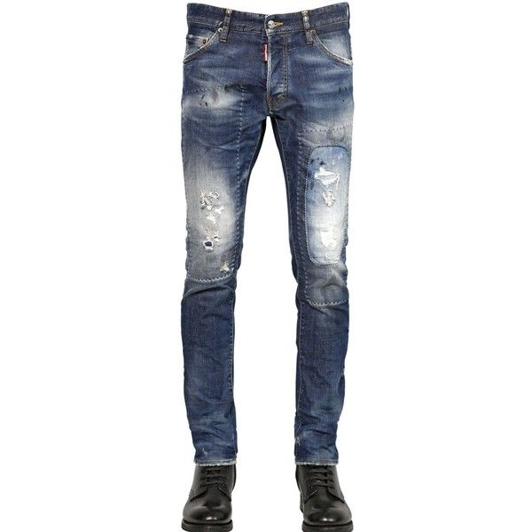 Dsquared2 Men 16.5cm Washed Cool Guy Fit Denim Jeans ($300) ❤ liked on Polyvore featuring men's fashion, men's clothing, men's jeans, men, blue, mens distressed jeans, mens destroyed jeans, mens torn jeans, mens patched jeans and mens blue ripped jeans
