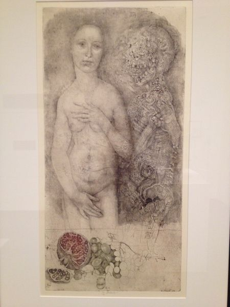 """Jiri Anderle's etching, """"Madchen und Tod"""" depicts Persephone and the god of death, Hades. I find this piece of art particularly intriguing because it gives Persephone an agency that is denied to her in classical myth. Here, she is depicted in a pose similar to that typically attributed to Aphrodite. Traditionally, Persephone does not have much of a voice in the story of her abduction, but here we see her as almost a seductress figure who intrigues Hades, a mere skeleton in this…"""