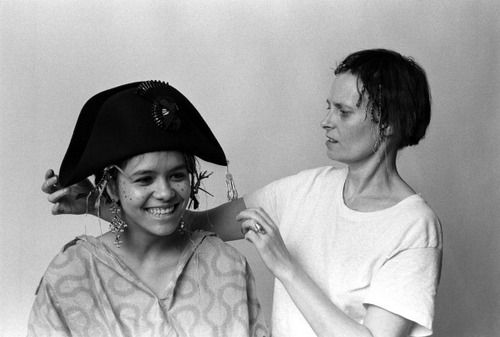 Annabella Lwin and designer Vivienne Westwood in London, 1980