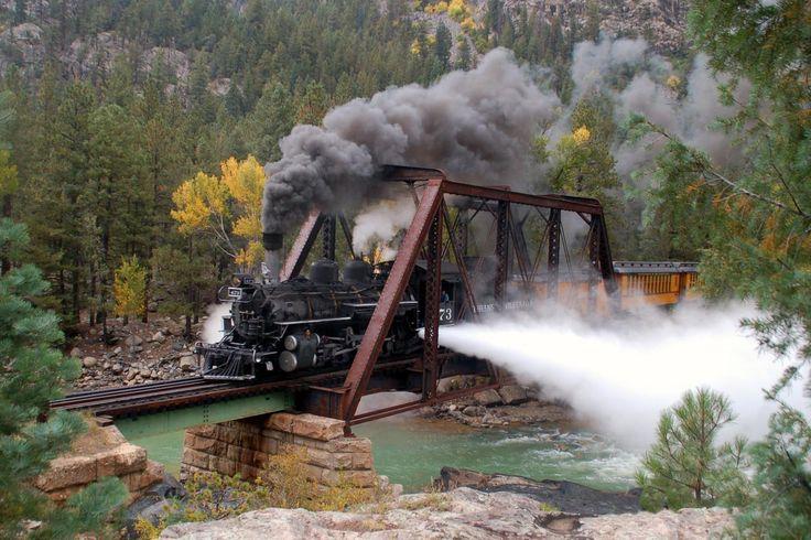 Durango & Silverton Railroad in Colorado | The 8 Most Scenic Train Rides in America >> http://www.greatamericancountry.com/places/travel/the-8-most-scenic-train-rides-in-america-pictures?soc=pinterest