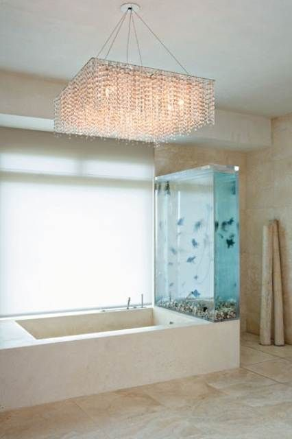 Cool Blue White Wall Aquariums Design In Bathroom