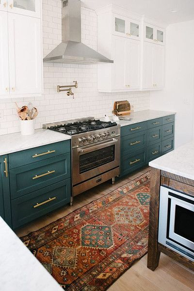 Love The Teal Colored Lower Cabinets And The Beautiful Persian Rug That  Adds Just The Right
