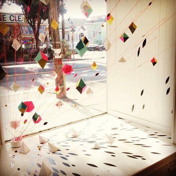 geometric window display