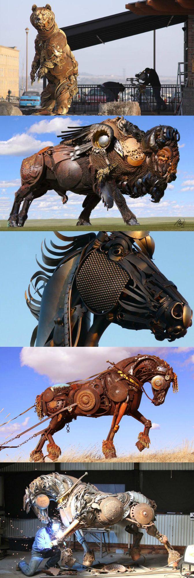 The Incredible Scrap Metal Animal #Sculptures of John Lopez