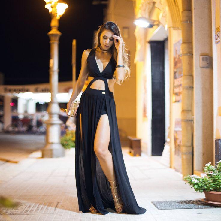 look para a noite - vestido longo preto com fenda
