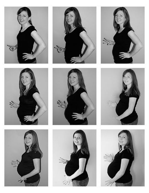 This is the cutest pregnancy picture documentation I've ever seen. Love how she uses her fingers to show how many months she is!