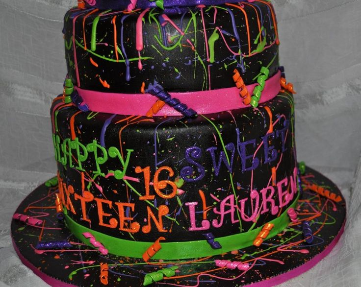 Neon Paint Splatter Cake! Neon paint splattered cake, with gumpaste bow, and some glittery accents! TFL!
