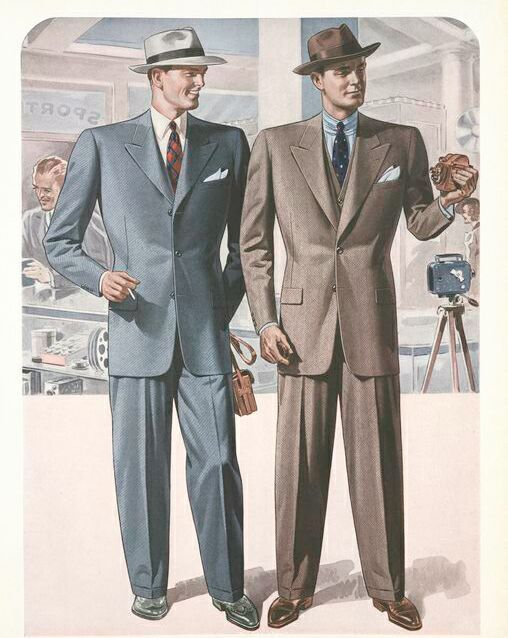 1940s Mens Suits  Dress code for my dad's position as IBM Customer Engineer was White Shirt! Tie! Business suit AND Hat!--- Polished leather shoes, dark socks. Dress type overcoat in the winter.
