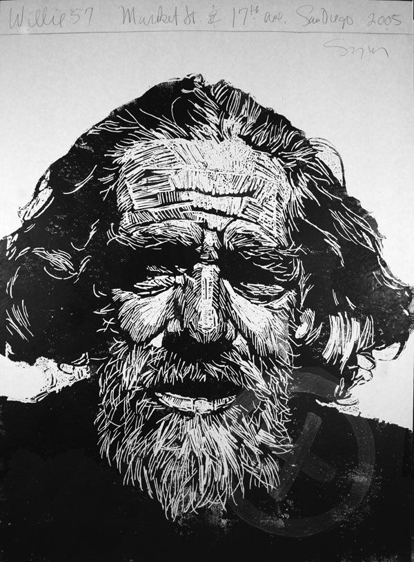 """""""Willie 57"""" print by Neil Shigley, (1955-) http://neilshigley.com/ Tags: Linocut, Cut, Print, Linoleum, Lino, Carving, Block, Woodcut, Helen Elstone, Profile, Portrait, Face, Man, San Diego, Large-Scale Printing, The Invisible People Series."""