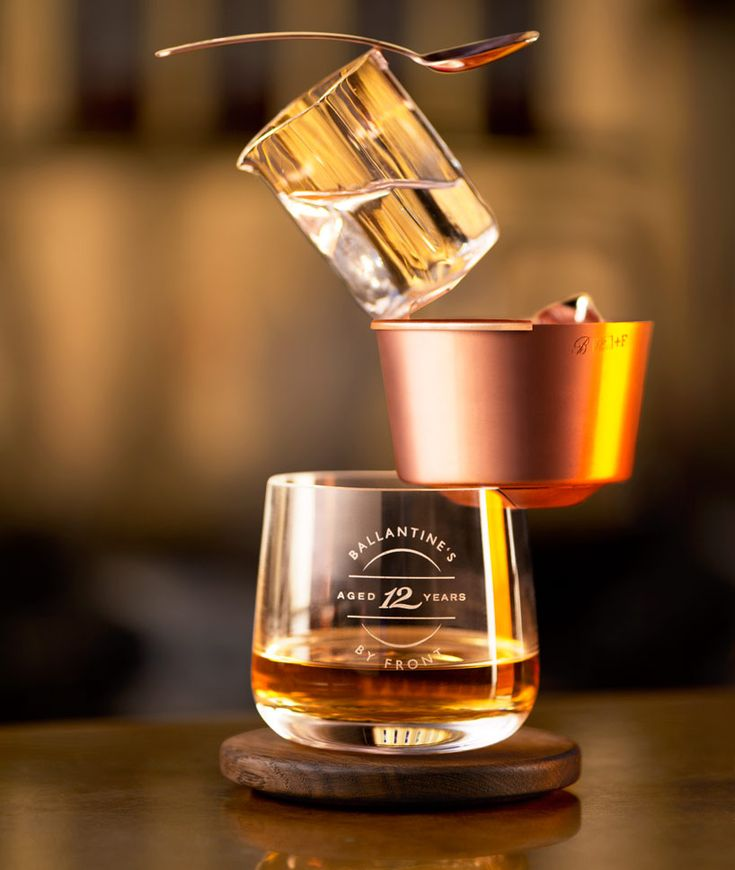 front: ballance drinking set for ballantine's whisky - designboom | architecture & design magazine