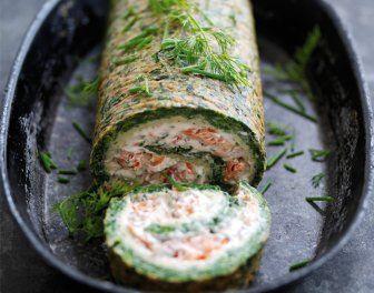 Voorgerecht, hoofdgerecht, buffet, koud: Zalm en spinazieroulade