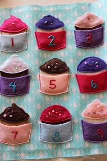 Quiet book Cupcakes use vinyl to give it some shine.
