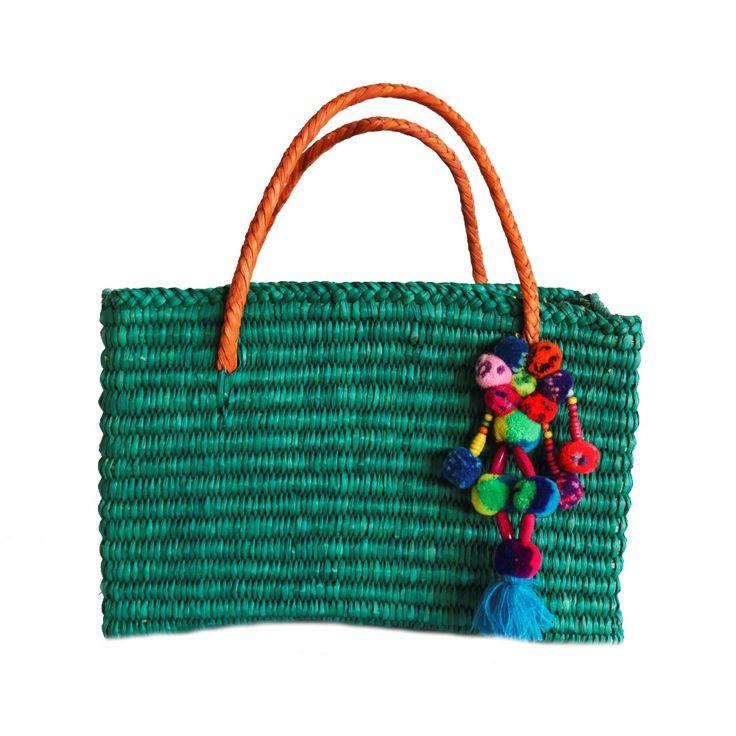 Bolsa de palha pompom color - azul - shoplixmix: