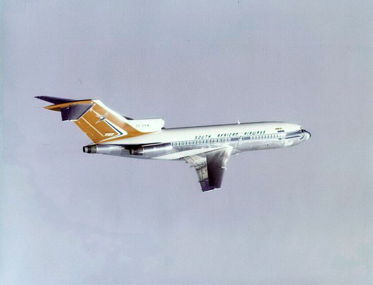 South African Airways Boeing 727-100 in flight, possibly ZS-DEA? Entered into service in 1965.