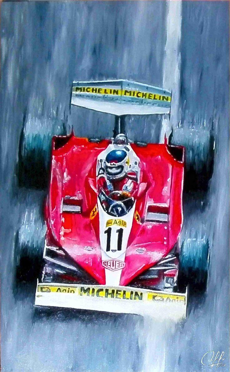 Carlos Reutemann, Ferrari, óleo sobre tela 42x26.