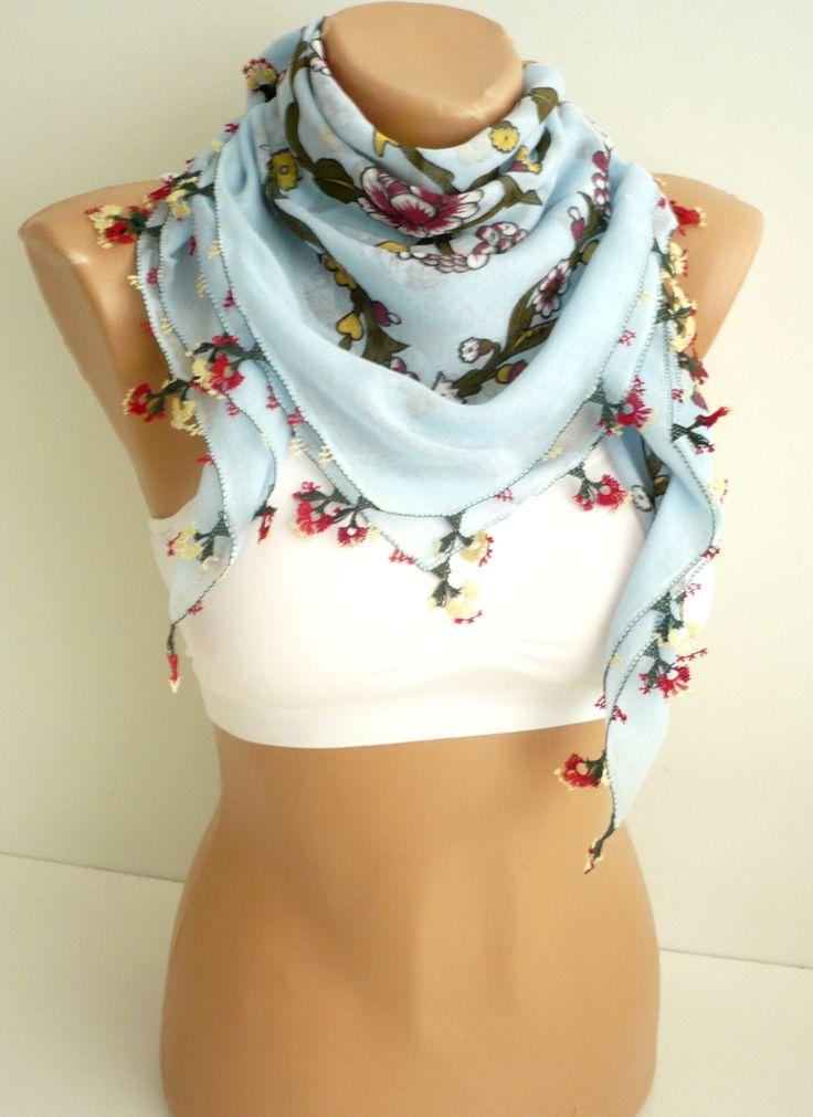 Turkish needle laced antique scarf / Handicraft vintage foulard / cotton, light blue, floral printed versatile kerchief / unique gift idea by TurkishHands on Etsy