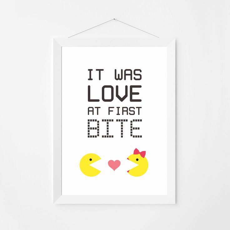 """Poster print wall art. Funny quote print """"It was love at first bite"""". Decorative love poster for intasnt download. Available in 3 sizes. by PenguinGraphics on Etsy"""