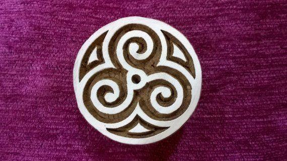 Indian Stamps Celtic Handcarved Printing Block Textile Wooden Decorative Stamp