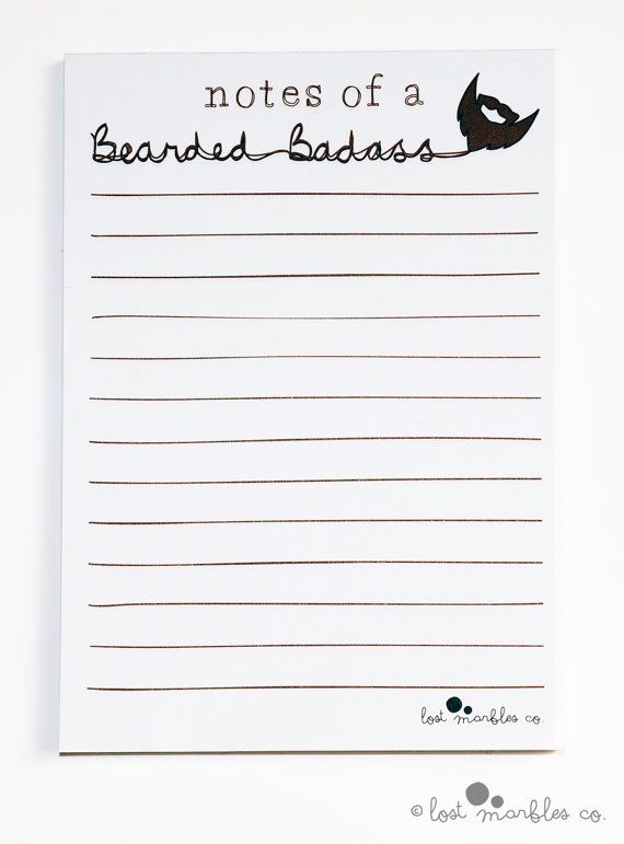 Notepad  Beard Notepad  Funny Pad  by Lost Marbles Co