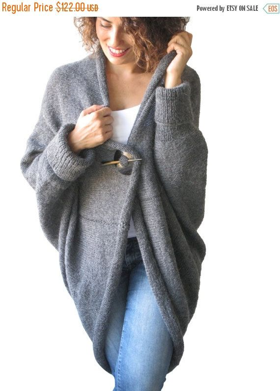 WINTER SALE 20% Plus Size Over Size Dark Gray Wool Overcoat - Poncho - Cardigan (97.60 USD) by afra